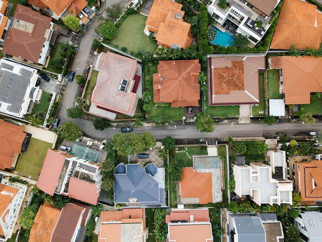 Aerial view of residential housing